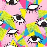 Futuristisches nahtloses Muster des Vektorretrostils Bunter Hintergrund der Weinlese alles sehende Augensymbol Modeillustration d Stockfoto