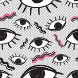 Futuristisches nahtloses Muster des Vektorretrostils Bunter Hintergrund der Weinlese alles sehende Augensymbol Modeillustration d Lizenzfreie Stockbilder