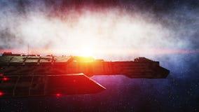 Futuristisches Raumschiff im Raum Erdplanet wonderfull Ansicht realistisches Metalloberflächenschiff, Verschiebung und normale Ka stock video footage