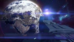 Futuristisches Raumschifffliegen im Raum in Richtung zur Erde - 24 fps stock video