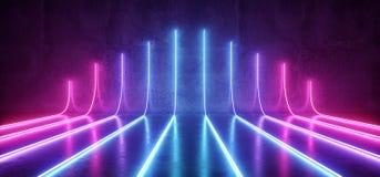 Futuristisches Sciencefictions-modernes leeres Stadiums-reflektierende konkrete Raum Wi Vektor Abbildung