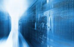 Futuristisches techno Design auf Hintergrund des fantastischen SupercomputerRechenzentrums Lizenzfreies Stockfoto