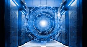 Futuristisches techno Design auf Hintergrund des SupercomputerRechenzentrums Stockfoto
