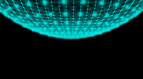 Futuristisches Technologie Cyberbereichverbindungs-Weltnetz, Computer, virtuelle optische Kabel der Faser, Faserverbindung Lizenzfreie Stockbilder