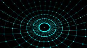 Futuristisches Technologie Cyberbereichverbindungs-Weltnetz, Computer, virtuelle optische Kabel der Faser, Faserverbindung Lizenzfreie Stockfotos