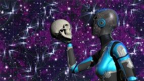 Futuristisches weibliches Android im Weltraum, der menschlichen Schädel hält Stockfotos