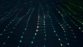 Futuristisk abstrakt digital bin?r ljus yttersidav?g med f?ltet av sikten arkivfoto