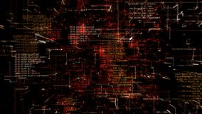 Futuristisk abstrakt programmera sömlös flythrough för röd kod vektor illustrationer