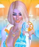 Futuristisk affärskvinna för pekskärm Fotografering för Bildbyråer