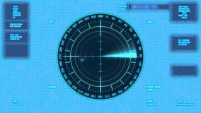 Futuristisk användargränssnitt som isoleras på genomskinlig bakgrund Radar med målet på översikt stock illustrationer