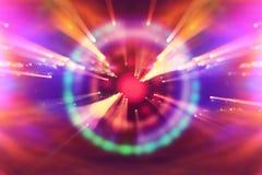 futuristisk bakgrund för abstrakt science Lens signalljus begreppsbild av utrymme- eller tidloppet över ljusa ljus royaltyfri fotografi