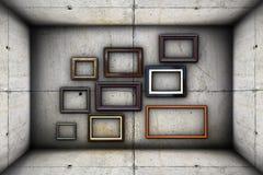Futuristisk bakgrund med ramar på betong Royaltyfria Bilder