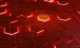 Futuristisk bakgrund som består av att flamma sexhörningar som ordnas på en nivå Begreppsmässig illustration 3D på ämnet av cyber royaltyfri illustrationer