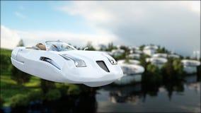 Futuristisk bil som flyger över staden, landskap Transport av framtiden flyg- sikt framförande 3d Arkivfoto