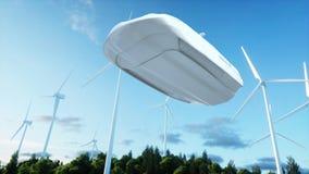 Futuristisk bil som flyger över staden, landskap Transport av framtiden flyg- sikt framförande 3d Royaltyfri Bild