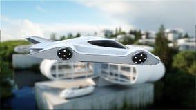 Futuristisk bil som flyger över staden, landskap Transport av framtiden flyg- sikt framförande 3d Royaltyfri Fotografi