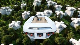 Futuristisk bil som flyger över staden, landskap Transport av framtiden flyg- sikt framförande 3d Arkivfoton