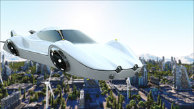 Futuristisk bil som flyger över staden, stad Transport av framtiden flyg- sikt framförande 3d stock illustrationer