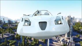 Futuristisk bil som flyger över staden, stad Transport av framtiden flyg- sikt framförande 3d Arkivbilder