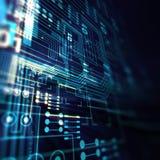 Futuristisk blå illustration för bakgrund för abstrakt begrepp för strömkretsbräde Royaltyfri Bild