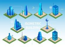 Futuristisk byggnadsupps?ttning Smart City 3D objekt vektor illustrationer