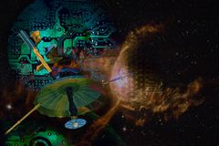 Futuristisk collage för Cyberutrymmeteknologi vektor illustrationer