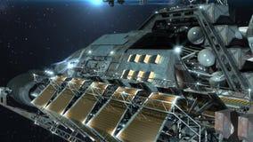 futuristisk 3D, högt detaljerat interstellärt rymdskepp stock illustrationer