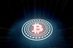 Futuristisk digital glödande bitcoin med abstrakt binär bakgrund för våg för zero-onekodtext stock illustrationer