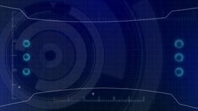 Futuristisk digital HUD Technology användargränssnitt, radarskärm med olik kommunikation för teknologibeståndsdelaffär Arkivbild