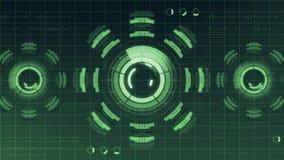 Futuristisk digital HUD Technology användargränssnitt, radarskärm med olik kommunikation för teknologibeståndsdelaffär Royaltyfri Fotografi