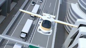 Futuristisk flygbil som flyger över huvudvägen stock video