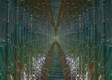 Futuristisk glass tunnel Fotografering för Bildbyråer