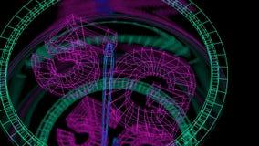Futuristisk hastighetsmätare med en indikator för datahastighet genom att använda teknologi 5G stock video