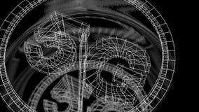Futuristisk hastighetsmätare med en indikator för datahastighet genom att använda teknologi 5G Alpha Channel arkivfilmer