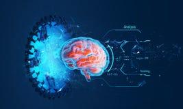 Futuristisk illustration av hologrammet av hjärnan royaltyfria foton