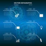 Futuristisk infographic mall med symboler på den blåa bakgrunden vektor illustrationer