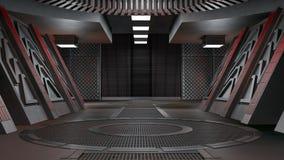 Futuristisk inre för rymdskepp med fönstersikt framförande 3d vektor illustrationer