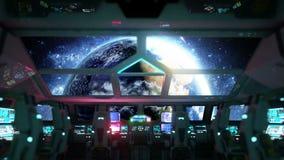 Futuristisk inre för utrymmeskepp Jordsikt från cabine Galaktiskt loppbegrepp stock illustrationer