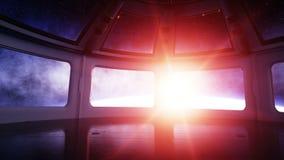 Futuristisk inre för utrymmeskepp Sci fi rum sikt av jorden, wonderfullsoluppgång Utrymmebegrepp lager videofilmer