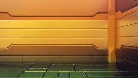 Futuristisk inre med den tomma etappen Modern framtida bakgrund Begrepp för hög tech för teknologiscience fiction framförande 3d stock illustrationer