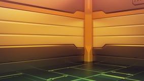 Futuristisk inre med den tomma etappen Modern framtida bakgrund Begrepp för hög tech för teknologiscience fiction framförande 3d vektor illustrationer