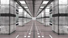 Futuristisk inre och datorhall Arkivfoton