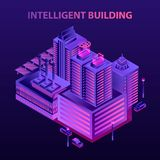 Futuristisk intelligent byggande begreppsbakgrund, isometrisk stil vektor illustrationer