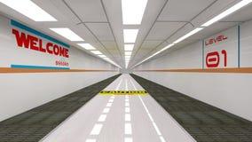 Futuristisk korridor royaltyfri illustrationer