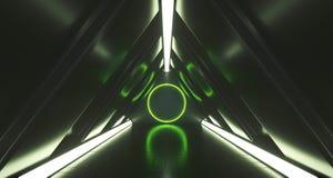 Futuristisk korridor för triangelscience fiction med cirkelljus i Cenen royaltyfri illustrationer