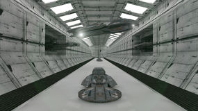 Futuristisk korridor och UFOS Arkivfoto