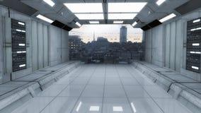 Futuristisk korridorarkitektur Arkivfoton