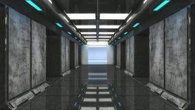 Futuristisk korridorarkitektur Arkivfoto