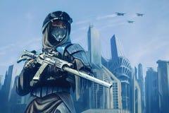 Futuristisk krigare med vapen Royaltyfri Foto