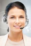 Futuristisk kvinnlig helplineoperatör Arkivfoto